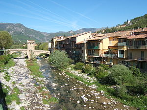 Sospel - A view of Sospel, with the River Bévéra flowing beneath the old bridge