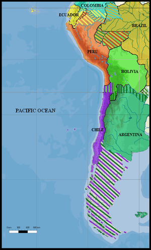 José Paranhos, Baron of Rio Branco - South America (1879): All land claims by Peru, Ecuador, Colombia, Brazil, Chile, and Bolivia in 1879
