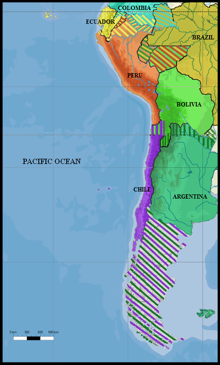 South America (1879): All land claims by Peru, Ecuador, Colombia, Brazil, Argentina, Chile, and Bolivia in 1879 South America 1879.png