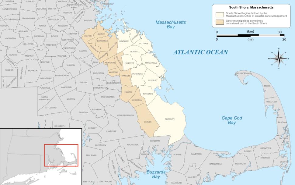 The South Shore region of Massachusetts