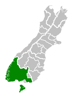 Location of the Southland District within the South Island