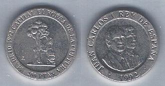 Spanish peseta - Image: Spagna 200 pesetas Madrid Capitale Europea della Cultura