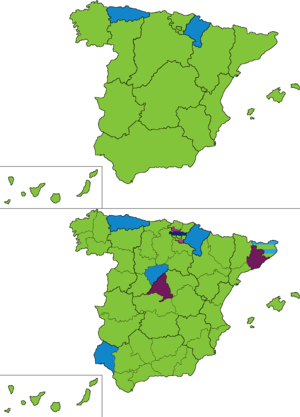 Spanish general election, 1893 - Most voted party by regions and provinces.