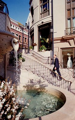 "2 Rodeo Drive and its ""Spanish Steps"" is at the heart of the exclusive shopping district on Rodeo Drive."