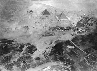 Eduard Spelterini - The Giza Necropolis, a photograph by Eduard Spelterini, November 21, 1904.