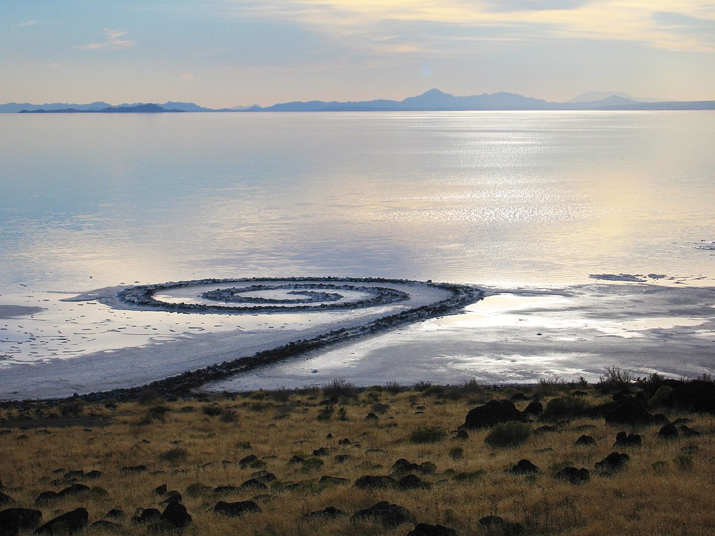 Image: Robert Smithson's earthwork, Spiral Jetty, located at Rozel Point, Utah on the shore of the Great Salt Lake