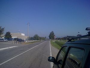 Grid plan - Straight road in the Province of Bergamo, Italy, following line of Roman Grid