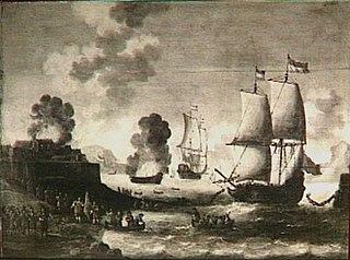 Het stukzeilen van de ketting over de Medway op 22 juni 1667; episode uit de tocht naar Chatham