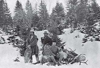Gabriel Acquin - Sportsman with Guides and caribou, New Brunswick, c. 1887 Left : Gabe Acquin
