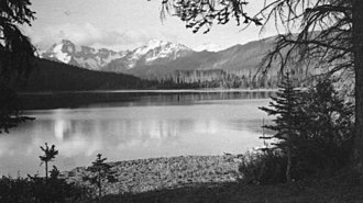 Spruce Lake Protected Area - Spruce Lake in the 1950s, Dickson Range in background,  E. Cleven Photo