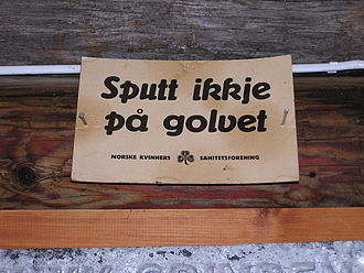 History of nicotine marketing - A sign asks readers (likely tobacco chewers) not to spit on the floor. Part of an anti-tuberculosis campaign by the Norwegian Women's Public Health Association.