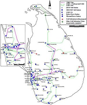 Electricity sector in Sri Lanka - Sir Lanka Electric Transmission System Map