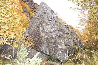 Sami shamanism - Stabben: A siedi (worshiped stone) in Balsfjord