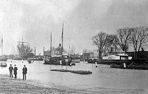 Stade - New harbor during the 1894 flooding