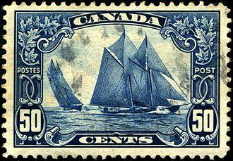 Bluenose (postage stamp) - Image: Stamp Canada 1929 50c Bluenose