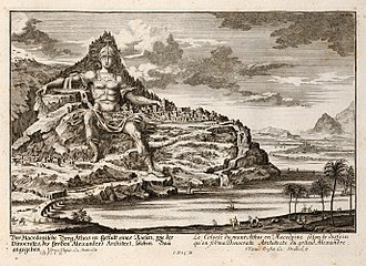 Mount Athos - Imaginary view of the Alexander monument, proposed by Dinocrates, engraving by Johann Bernhard Fischer von Erlach, 1725