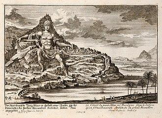 Mount Athos - Imaginary view of the Alexander monument, proposed by Dinocrates, engraving by Johann Bernhard Fischer von Erlach, 1725
