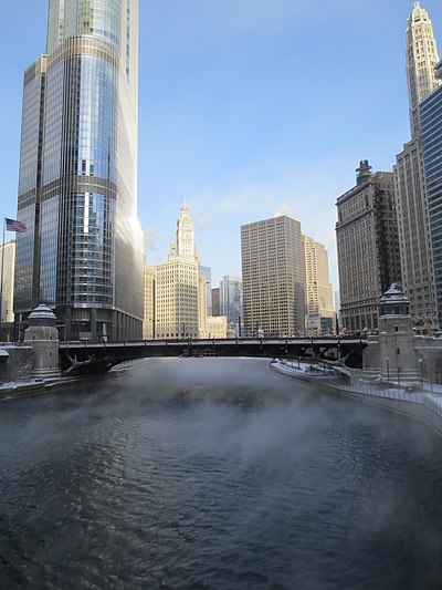 Downtown Chicago and the Chicago River in January 2014 Steam Rising from Chicago River.jpg