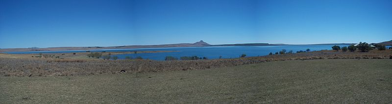 Panorama of the lake and surrounding landscape