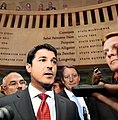Steve Crisafulli comments to the media on a successful special session of the Legislature with Andy Gardiner at his side.jpg