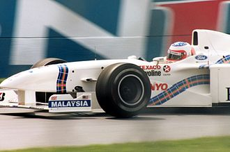 Stewart Grand Prix - Rubens Barrichello driving for the Stewart Grand Prix team in Montreal in 1997. The tartan decoration indicates the Stewarts' origins in Scotland.