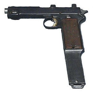 Steyr M1912 - Steyr M1912 machine pistol. This variant with an extended magazine was often fitted with a stock to control recoil