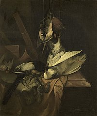 Still life with birds and hunting implements