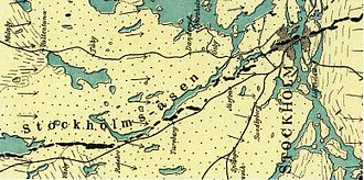 Stockholmsåsen - The bedrock and eskters of the Stockholm area according to the geologist Gerard De Geer 1897.  North is to the left.