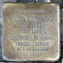 Photo of Elsa Strauss brass plaque