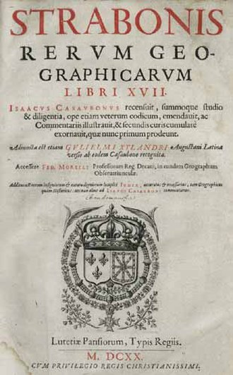 Strabo - Title page from Isaac Casaubon's 1620 edition of Geographica
