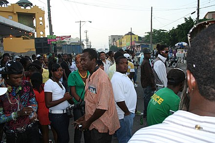The streets of Kingston, Jamaica's capital and largest city StreetsofKingston.jpg