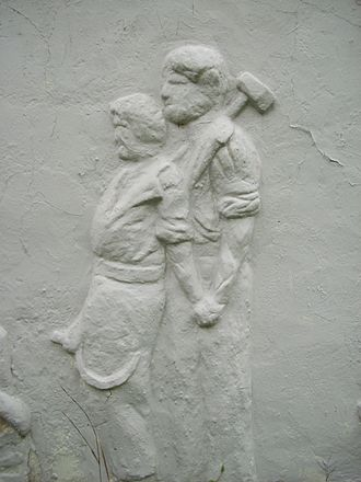Ferrer Colony and Ferrer Modern School - Stucco relief from the Sam Goldman house in the Ferrer Colony