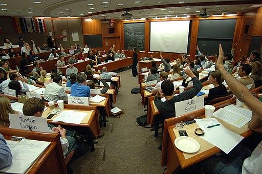 Students in a Harvard Business School classroom