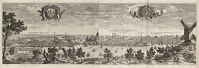Stockholm ifølge tryk i året 1693.   Panorama fra øst (til venstre) og fra vest.