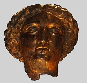 Bath curse tablets - Gilt bronze head of Sulis Minerva, to whom the curse tablets were addressed, found at her temple in Bath.