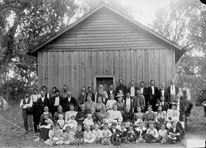 Sunday school - Sunday school, Indians and whites. Indian Territory (Oklahoma), US, c. 1900.