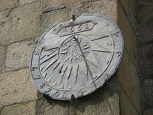 A Sundial by a church wall in Lannion, Brittan...