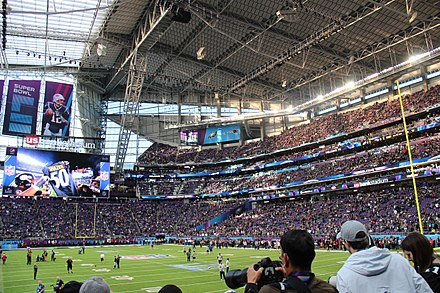 Inside U.S. Bank Stadium just before Super Bowl LII Super Bowl LII pregame.jpg