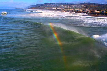 Rainbows  may also form in the spray created by waves (called spray bows).