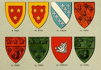 Lord Duffus - Coats of arms of the Sutherland families of Forse and Duffus, showing the progression of the Duffus coat of arms as they married into the Cheyne and Chisholm families. Nicholas Sutherland, 1st of Duffus married a daughter of Reginald le Chen (d.1345) and Alexander Sutherland, 3rd of Duffus married a daughter of John Chisholm of Chisholm in 1433