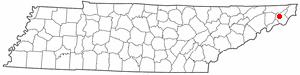 Watauga Association - Location of the Watauga settlement on modern map of Tennessee