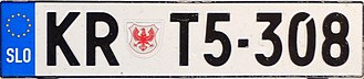 Vehicle registration plates of Slovenia - A 2004-2008 series plate