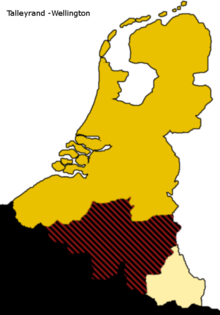 Een van de voorstellen: verdelingsplan Talleyrand-Wellington: Luxemburg en het uitgebreide Nederland onder Oranje-Nassau, de Waalse provincies en Zuid-Brabant bij Frankrijk