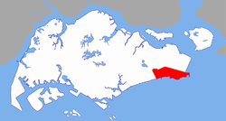 Rough extent of Tanah Merah along the eastern coast of Singapore