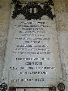 Epigrafe in ricordo di Nazario Sauro ad Avezzano