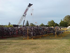 Lake Taupo Cycle Challenge - Relay bikes being prepared for transport (2007).