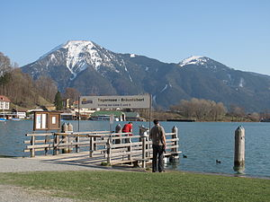 Bayerische Seenschifffahrt - A company landing stage on the Tegernsee, with boatyard in the background