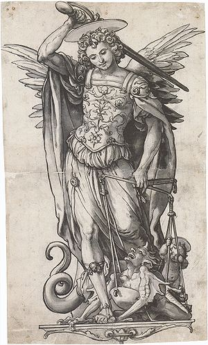 Weighing of souls - The Archangel Michael holds scales for the weighing of souls as a devil struggles with the Christ Child, in a design for stained glass by Hans Holbein the Younger, ca 1523, (Kunstmuseum Basel)