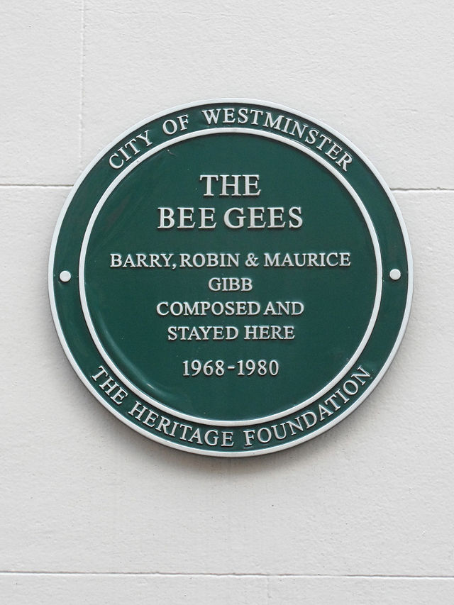 The Bee Gees, Barry Gibb, Robin Gibb, and Maurice Gibb green plaque - The Bee Gees. Barry Gibb, Robin Gibb & Maurice Gibb composed and stayed here 1968-1980