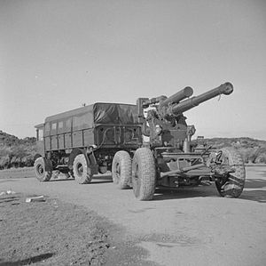 39th Anti-Aircraft Brigade (United Kingdom) - Mobile 3.7-inch HAA gun being towed by an AEC Matador during an exercise in the UK in 1944.